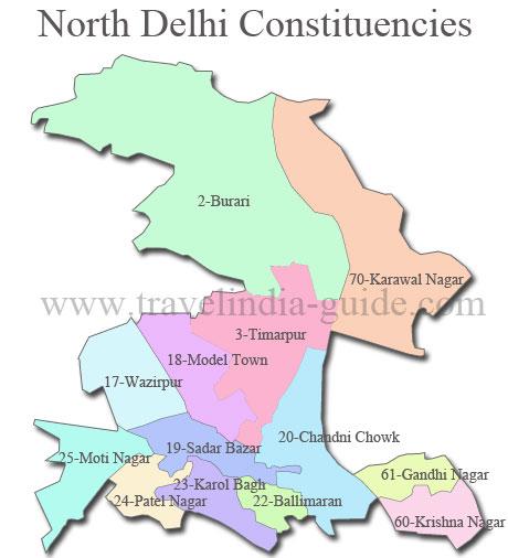 North Delhi map for 2013 polls
