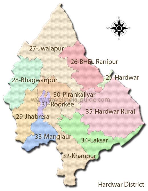 Hardwar district constituency map for 2012 Uttarakhand electionUttarakhand Map 2012